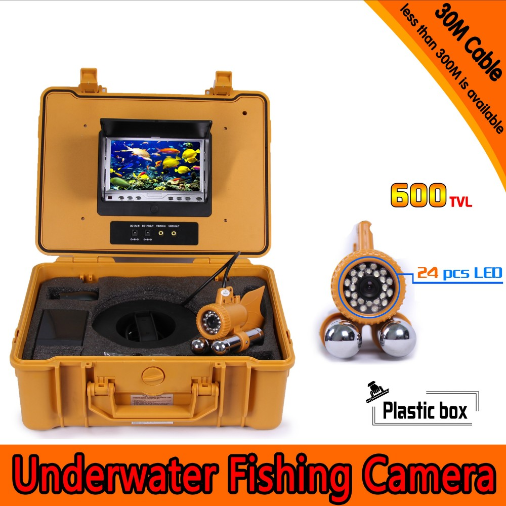 Underwater Fishing Camera Kit with 30Meters Depth Dual Lead Bar & 7Inch Color TFT LCD Monitor & Yellow Hard Plastics Case