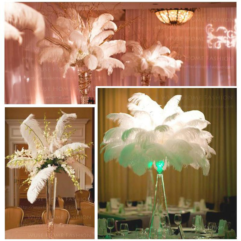 Top Wholesale White20-25CM Natural Ostrich Feathers Wedding Party Home Hair Mall Decor