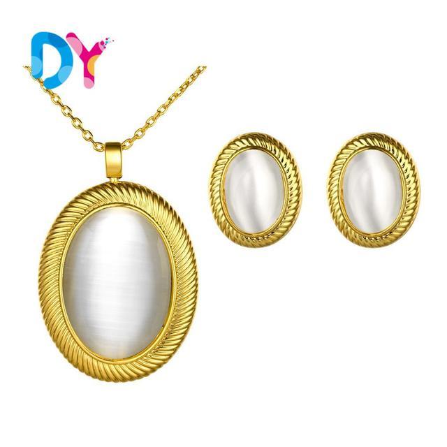 2016 nova moda ouro branco Opal olhos de gato pedra gota de água colar pingentes banhado a prata cristal clavícula colar brinco