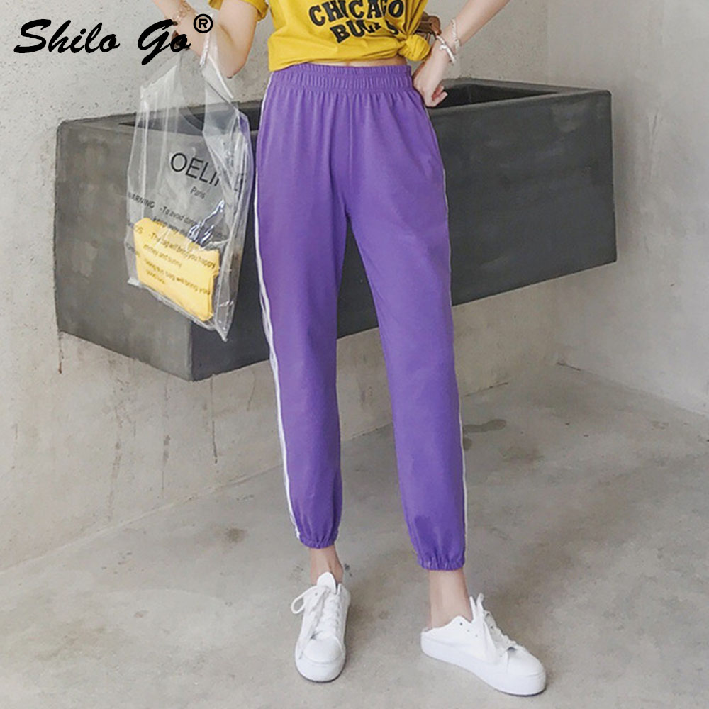 Light Purple Harem   Pants     Capri   Trousers Women Concise Summer Casual   Pants   Female Streetwear High Waist   Pants   2019 Female