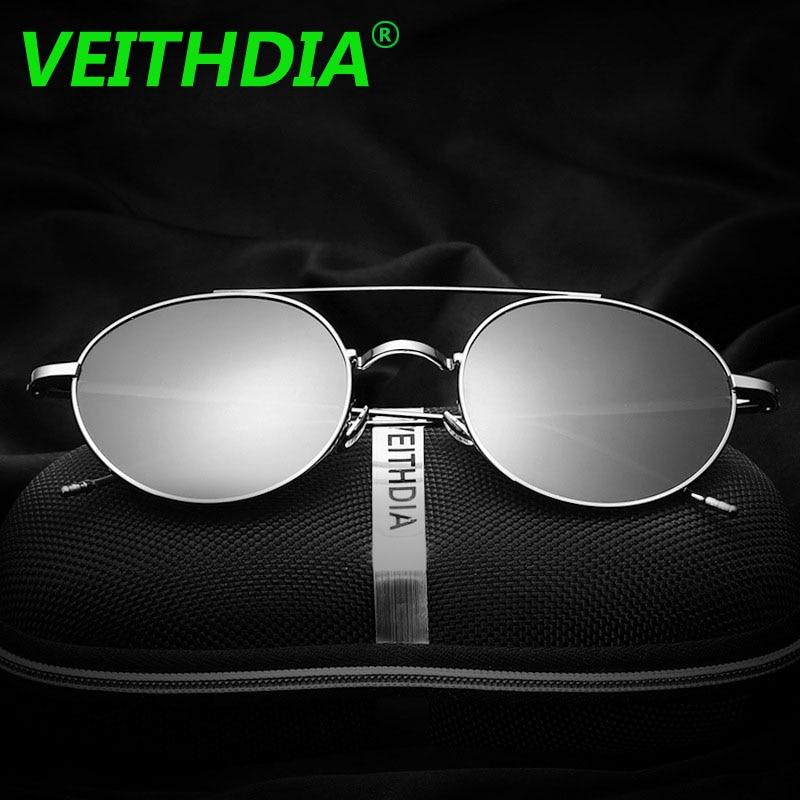 Veithdia Men font b Polarized b font Sunglasses Brand Logo Design Driving Mirror Retro Plane Vintage