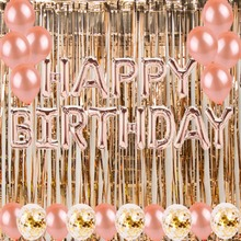 Rose Gold Fringe Tinsel Curtains Photography Backdrop Happy Birthday Foil Balloons Kids Adults Party Decorations