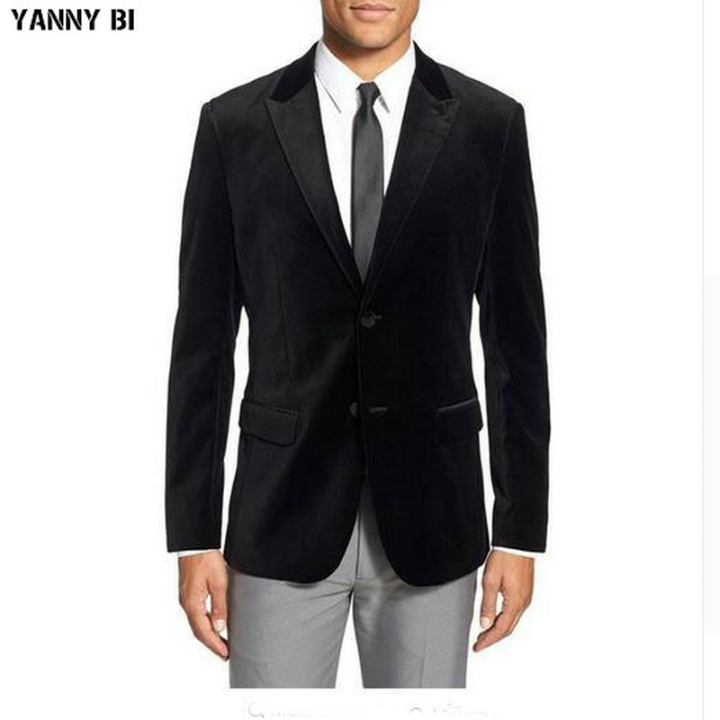 f9b744c18 Custom Made Mens Black Velvet Smoking Blazer Luxury Wedding Dinner Party  Wear Jacket Coat Suit Jackets