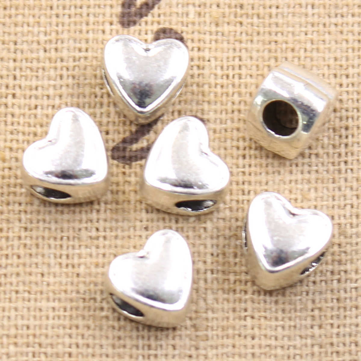 6pcs 8x7x9mm heart 3.5mm big hole bead charm fits antique silver charm bracelets Wholesale