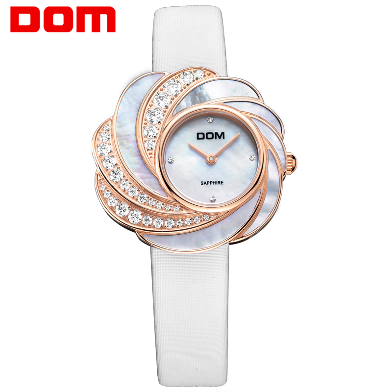 DOM Gold Watch Women Quartz Watches Ladies Top Brand Crystal Luxury Female Wrist Watch Girl Clock Relogio Feminino Sapphire nakzen quartz women watches top brand fashion ladies bracelet watch rhinestone crystal wrist watch female hers relogio feminino