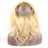613 блондинка Цвет 360 Кружева Фронтальная застежка предварительно сорвал с ребенком волосы бразильский объемная волна 100% натуральные волосы