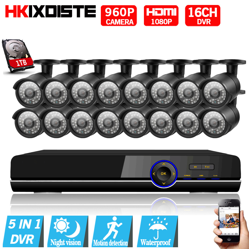 AHD 16CH CCTV System 1080P HDMI DVR Kit 2500TVL Outdoor Security Waterproof Night Vision AHD 960P 16 Cameras Surveillance Kits sannce hd 4ch cctv system hdmi ahd dvr kit 720p outdoor security waterproof night vision surveillance kits with 4 cameras 1tb