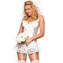 NEW White bridal Sexy lingerie Lingerie+garter+T pants+Hair accessories cosplay erotic lingerie sexy costumes for women