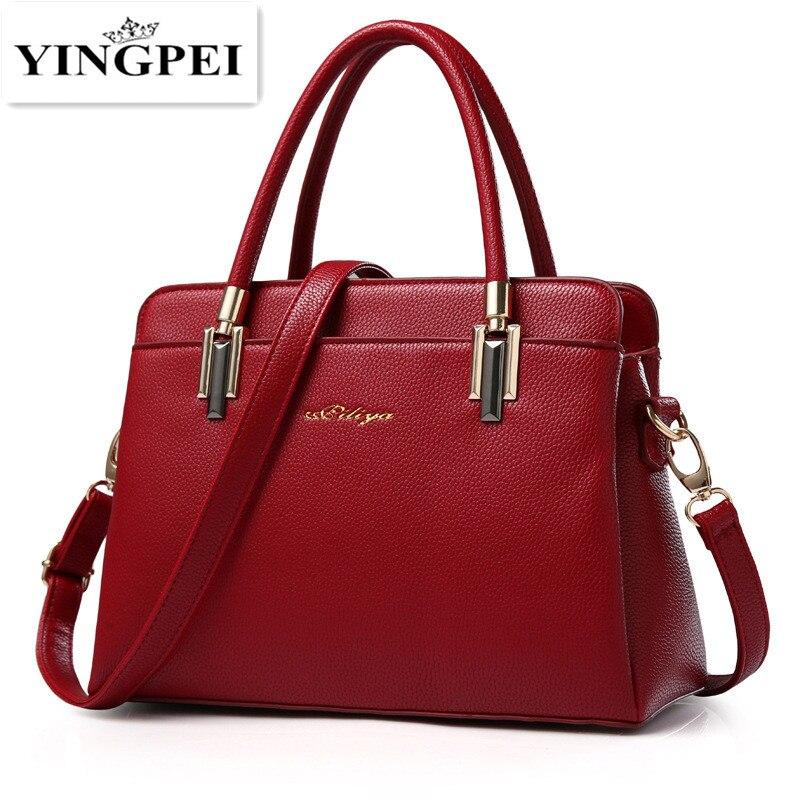 5e16e341b YINGPEI النساء حقيبة الأعلى مقبض حقيبة ساع حمل حقائب النساء بو الجلود عالية  الجودة حقيبة كتف هدايا للسيدات الأسود