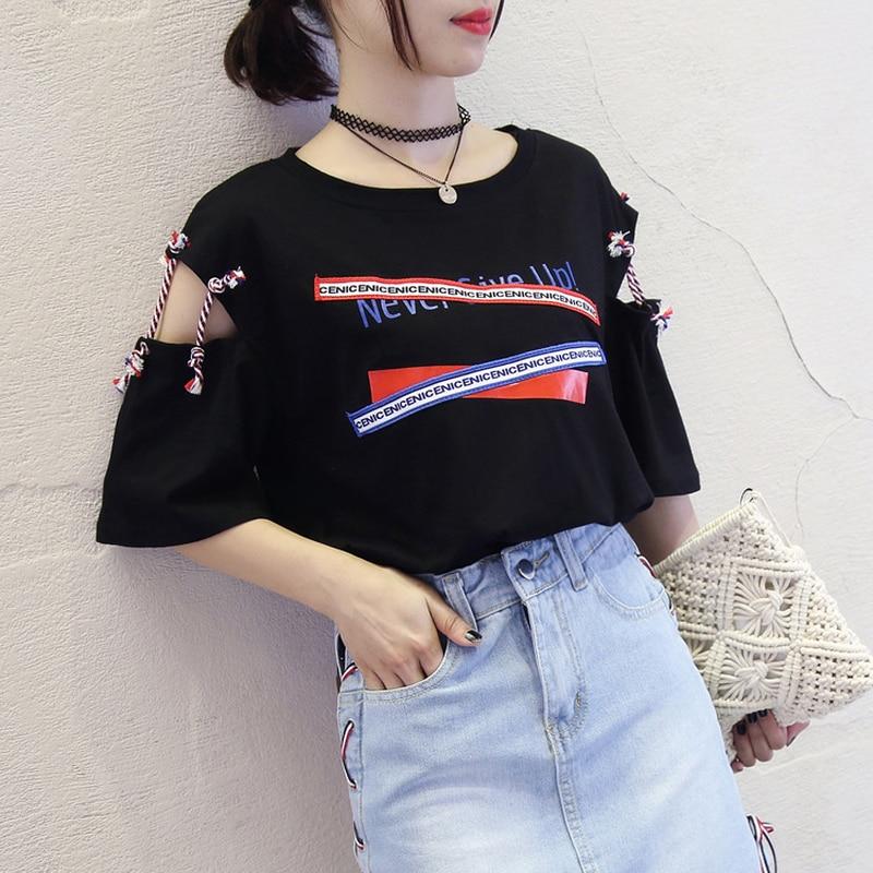 2018 Summer Women Black T shirts Harajuku plus size tops Tee Fashion streetwear women Hollow Out t-shirt Z405