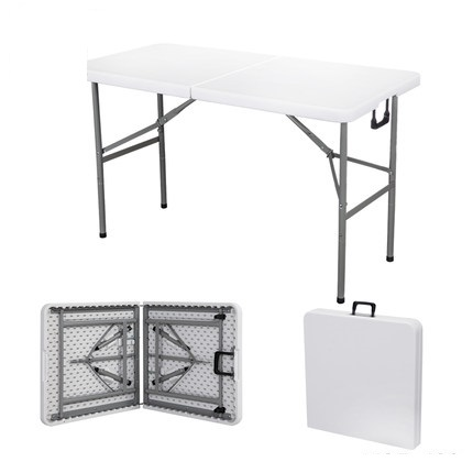Portable HDPE Folding tables for outdoor camping and exhibition reception outdoor portable folding tables and chairs set camping bbq advertising exhibition stand push table