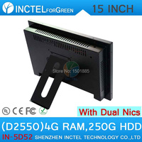 All in one desktop pc computer with 5 wire Gtouch 15 inch LED touch 4G RAM 250G HDD Dual 1000Mbps Nics