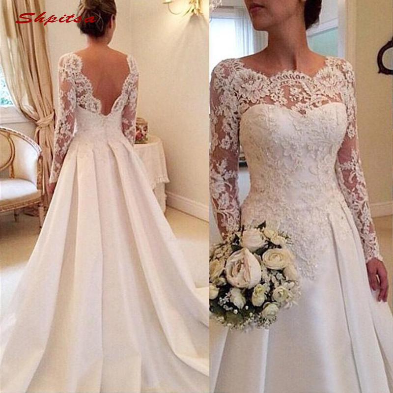 Long Sleeve Lace Wedding Dresses Satin Turkey Plus Size A Line Bride Bridal Weding Weeding Dresses Wedding Gowns 2019