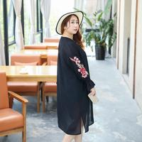 MINSUNDA Plus Size Embroidery Long Blouse Women Bell Cuff Slit Casual Summer Tops Fashion New Loose Beach Long Sleeve Kimono