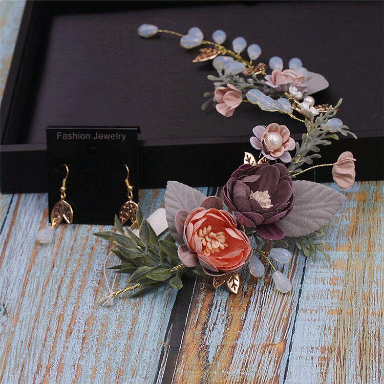 Earrings-Sets Flower-Tiara Wedding-Hair Purple Baroque Noble Brides Elegant