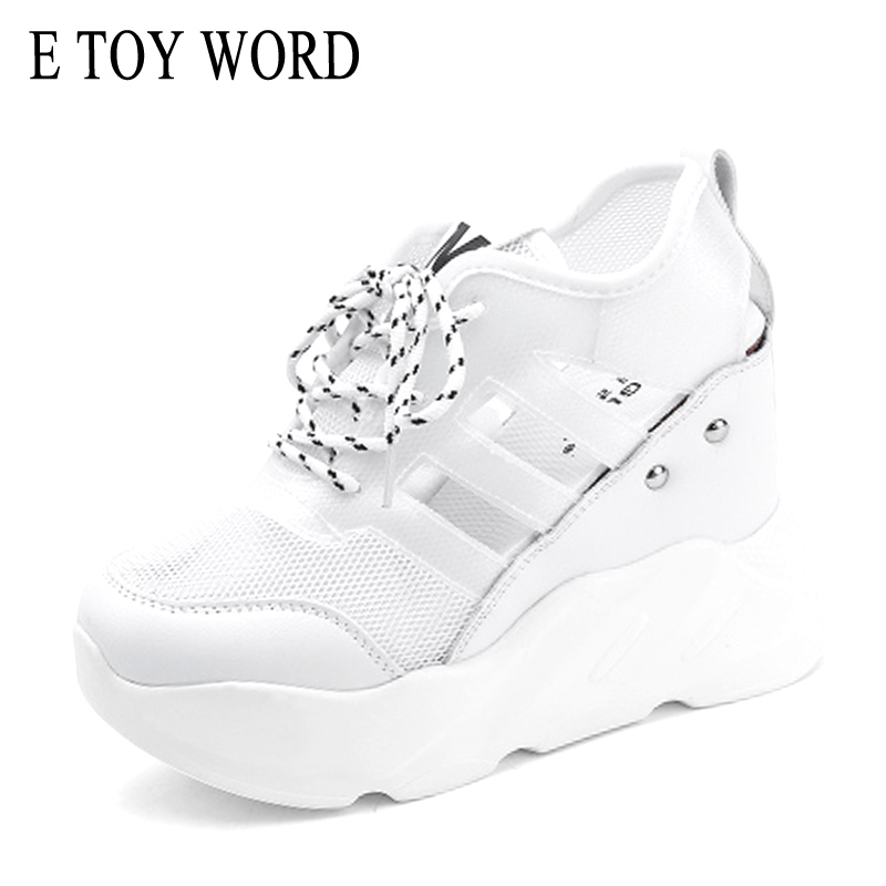 цена на E TOY WORD 2018 platform sneakers women fashion high heels casual shoes woman wedges women shoes heigh Increasing zapatos mujer