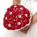 2016 Красный Букеты Невесты Атласные Розы с Жемчугом и Кристалл Женщины Свадебный Букет Мода Свадебные Аксессуары Класса Люкс