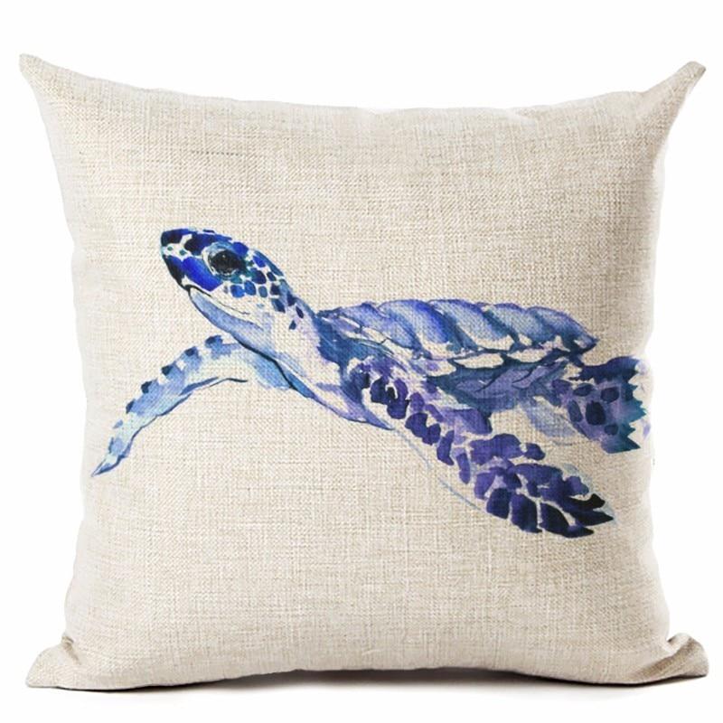 RECOLOUR Watercolor Sea turtle Printed Pillow cover Sofa Cushion Cover Home decor cojines decorativos para sofa 45X45cm in Cushion Cover from Home Garden
