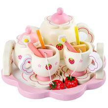 Meninas brinquedos simular brinquedos de cozinha de madeira rosa conjunto chá jogar casa ferramentas de brinquedo educacional do bebê educação precoce puzzle utensílios de mesa presente