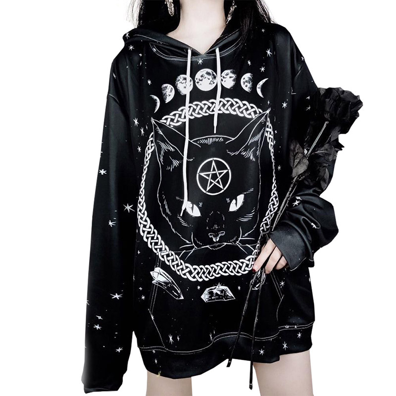 Dark Night Moon Cat Women Hoodies 3D Print Long Sleeves Brand Streetwear Fashion Sweatshirts Animal Pullover