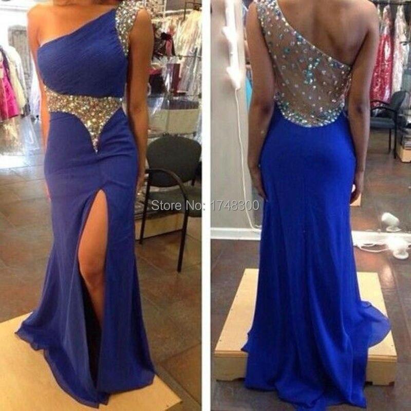 Vestido longo azul royal com fenda