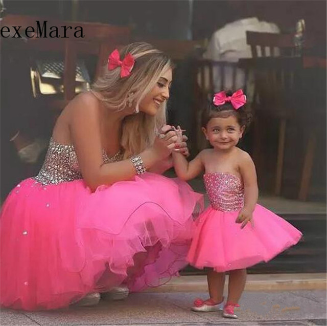 df7967e88 Lovely Pink Tulle Baby Girls Birthday Dresses Organza Beading Knee Length  Mother and Daughter Dress Custom Made