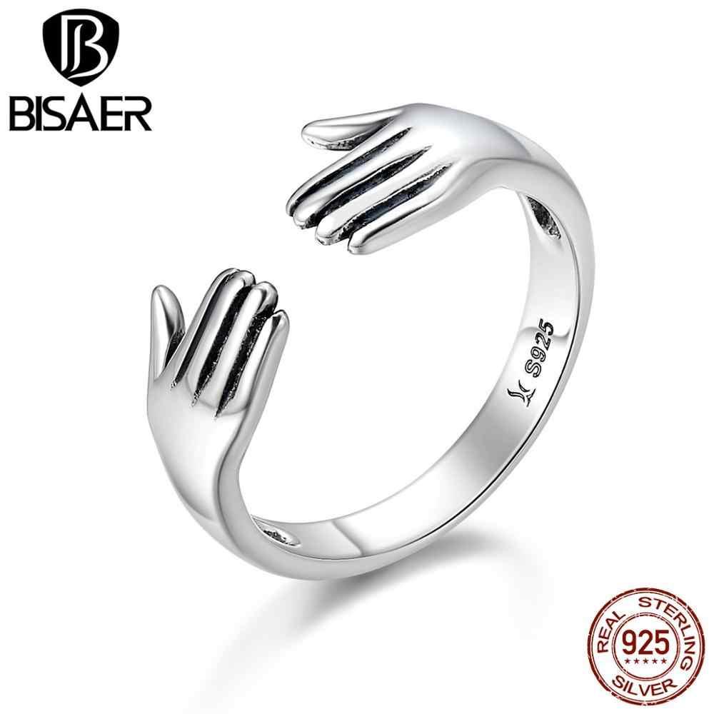 Design Nuovo 100% 925 Sterling Silver Ring Mi Dia UN Abbraccio Mano Aperta Anelli di Barretta per Le Donne Autentici Gioielli In Argento regalo Anel Regalo