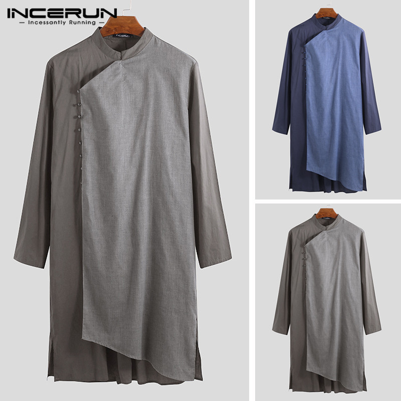 INCERUN 2019 Men Muslim Clothing Islamic Arab Kaftan Long Sleeve Cotton Patchwork Saudi Arabia Jubba Thobe Middle East Men Robes