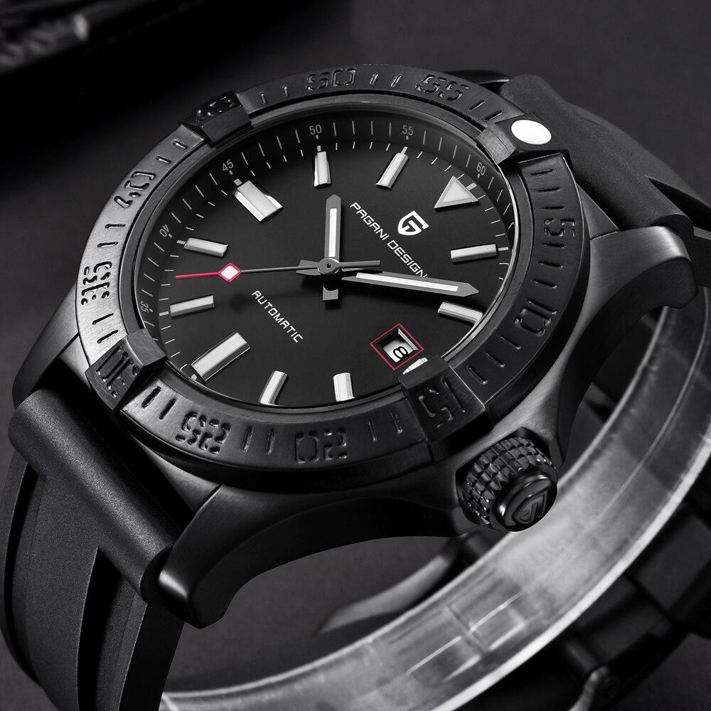 Relojes de diseño PAGANI para hombre, relojes mecánicos con correa de goma clásicos de lujo, a prueba de agua, casuales, reloj automático de 30M saat