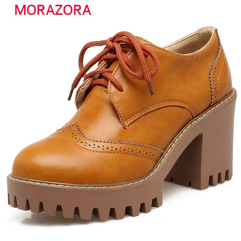 MORAZORA 2017 New arrive brogue shoes woman big size 34-43 high heels shoes solid fashion retro women pumps platform shoes сковорода tvs bs279303310201 mineralia induction