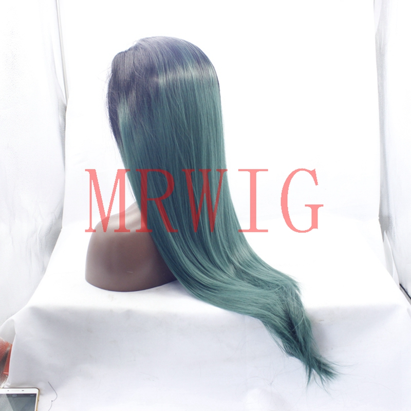 MRWIG free part long straight 1b# ombre green lace front synthetic hair wigs 26in150%density 320g ladies rea hair wig synthetic