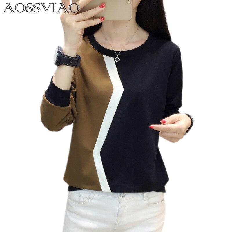 Camisa de manga comprida tshirt das mulheres retalhos plus size camiseta das mulheres camisetas outono e inverno camisa femme camisas mujer 2019