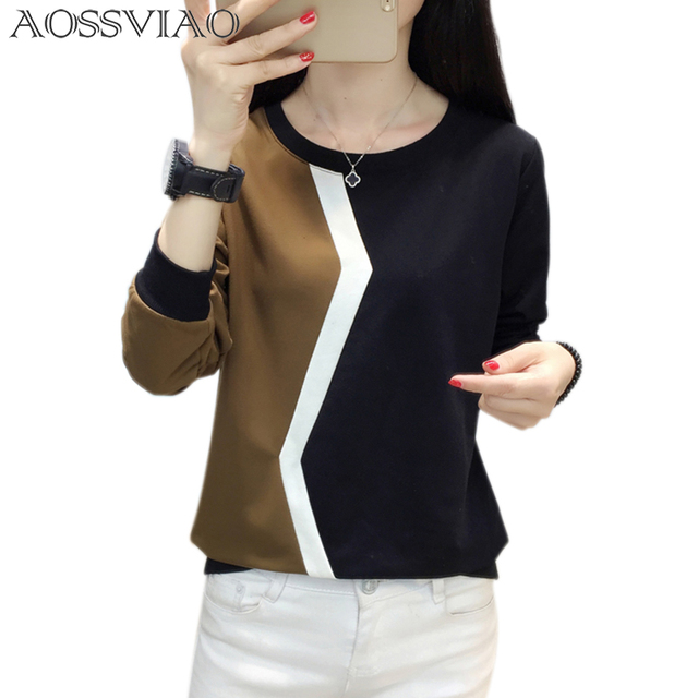 long sleeve t shirt women tshirt patchwork plus size t-shirt women tops autumn and winter tee shirt femme camisetas mujer 2018