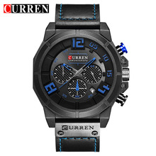 Curren Military Sport Style Multifunction Black Genuine Belt Mens Blue Wristwatch Men Quartz Watch Top Brand Male Clock