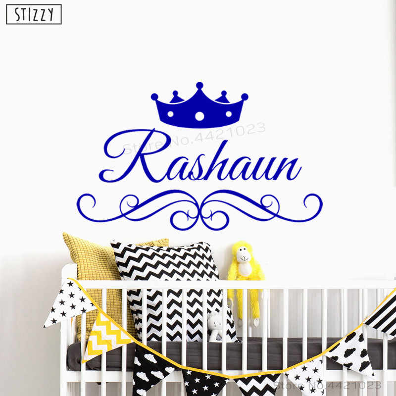 0f566fa2f532f STIZZY Wall Decal Prince Crown Personalized Name Vinyl Wall Stickers For  Kids Boys Room Gift Home Decor Custom Name Art DIY B727