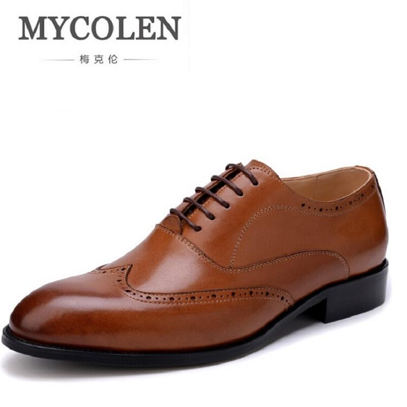 MYCOLEN Men Shoes Leather Genuine Italian Designer Pointed Toe Dress Shoes Classic Bullock Formal Oxford Shoes For Male new arrival men s oxford shoes italian design embossed leather pointed toe stone pattern decoration business men dress shoes