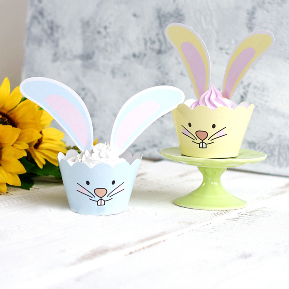 Tronzo 24pcs Funny Rabbit Ear Cake Topper Birthday Party Decorations ...