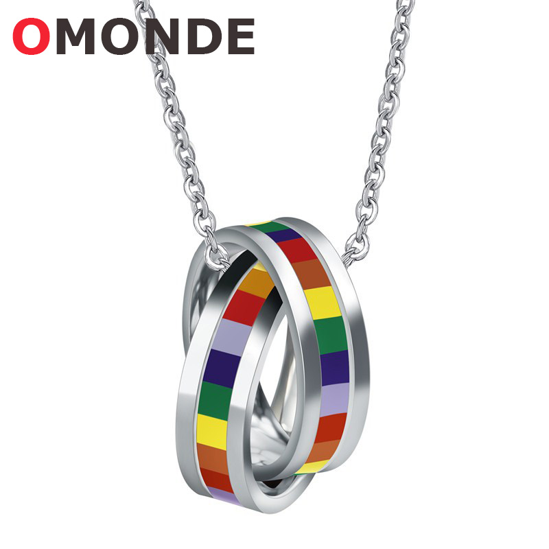 New Arrival Colorful Rainbow Necklace Pendant Stainless Steel Double Round Loop Link Chains Fashion Jewelry for Men and Women