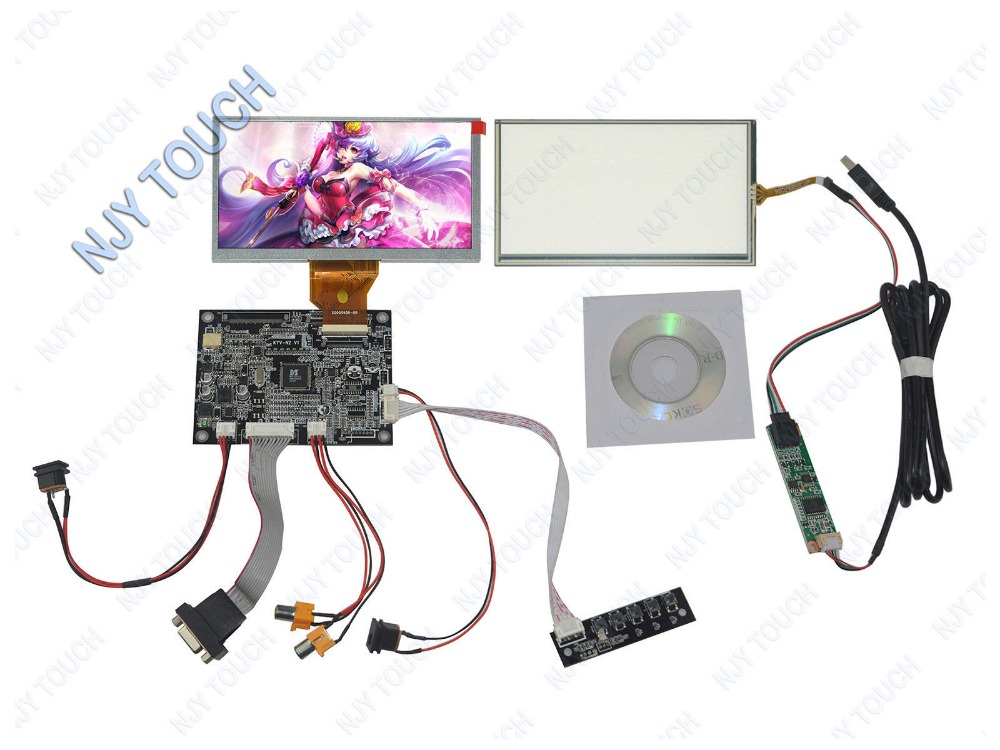 New VGA 2AV Reversing Driver Controller Board kit+ 6.5 inch AT065TN14 50Pin Screen +Touch Panel+ USB Controller KitNew VGA 2AV Reversing Driver Controller Board kit+ 6.5 inch AT065TN14 50Pin Screen +Touch Panel+ USB Controller Kit