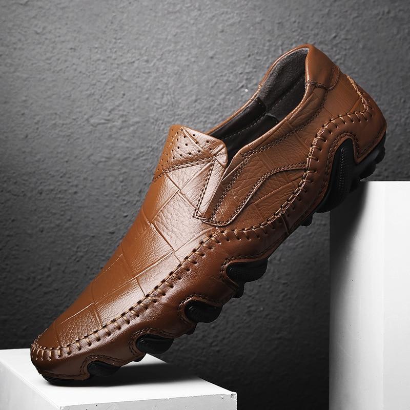 Solide Mocassins Lacets Plates bleu Hommes chocolat Noir Chaussures Confortable Printemps Sans orange De Conduite Matures Classiques Autummn NwOkX80nP