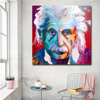 Modern Wall Picture Albert Einstein Portrait Abstract Pop Art on Canvas Print For Living Room Picture Wall Art Posters No Frame