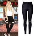 2016 Mulheres Jeans Preto jeans Rasgado Buraco Sexy Boyfried Femme Longo Mendigo Magro calças de Cintura Alta Plus Size 34-44 calças de brim