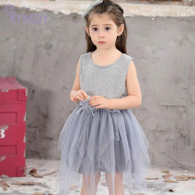 6441dda4f 1-10Y Vestido Da Menina Coreana Arco Irregular Malha Cinza Princesa Vestidos  de Roupas de