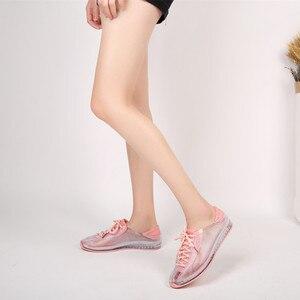 Image 3 - Swyovy zapatillas de deporte con cristales para mujer, zapatos femeninos de plástico brillante, informales, para otoño, 2018