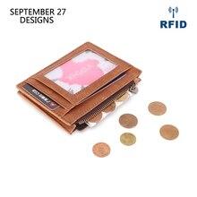 Hakiki deri RFID kredi kartı cüzdan Retro çok fonksiyonlu erkek Mini bozuk para çantaları Vintage kadınlar küçük bozuk para kesesi kimlik kartı durumda