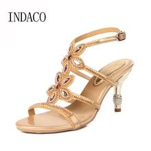 Women Rhinstone Party Sandals Flowers Thin Heel Sandals Summer Luxury Open Toe Women Wedding Shoes Large Size 43 44