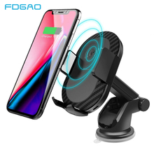 FDGAO Car Mount Qi Wireless Charger USB Car Charging Phone Holder Stand Pad for iPhone XS Max XR X 8 Plus Samsung S9 S8 Note 9 8