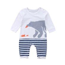 c18ddc388826 One Piece Cute Newborn Baby Boys Girls Polar Bear Romper Long Sleeve  Striped Jumpsuit Sunsuit Outfit