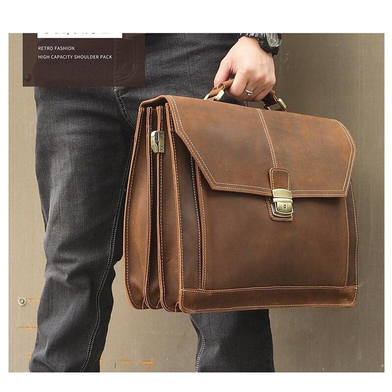 LEXEB cartera Oficina hombre bolsa para abogado Real cuero de los hombres de maletines caben 15