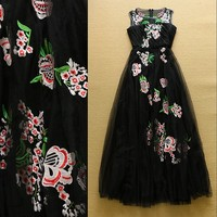 Hot 2015 Europe And America Style Sequins Embroidery Sexy Gauze Patchwork Big Swing Dresses New Slim
